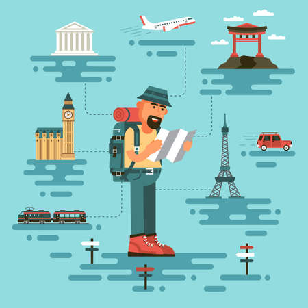 Bearded man in travel clothing, holds a map, surrounded by world monuments. Cartoon tourist in a flat style. On background plane, train and car. Illustration