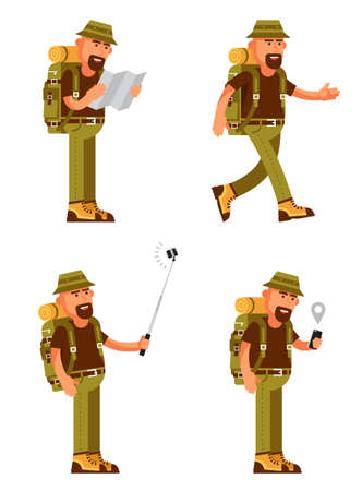 Bearded traveler with hat, backpack and tourist equipment in different poses, uses a map and GPS on smartphone.