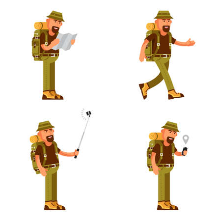 Bearded traveler with hat, backpack and tourist equipment in different poses, uses a map and GPS on smartphone, makes a selfie. Illustration in flat style. Stock Photo