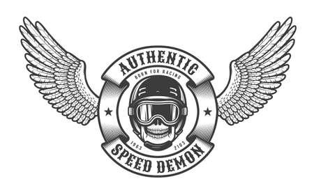 Old school emblem with wings, skull in racing helmet and round heraldic ribbon. Çizim