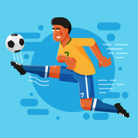 Brazilian football striker with an afro hairstyle in classic yellow blue uniform is hitting the ball. Flat illustration.