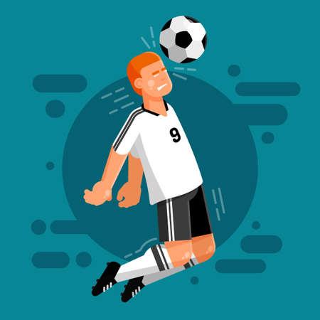 Football player of the German national team in white and black uniforms strikes the ball with the head. Soccer forward.