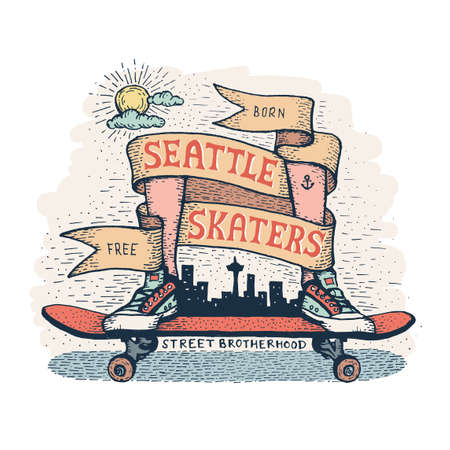 Legs in sneakers standing on skateboard, surrounded by  heraldic ribbon with inscription. Handcrafted color emblem in a hipster style, dedicated to skaters of Seattle. Ilustração