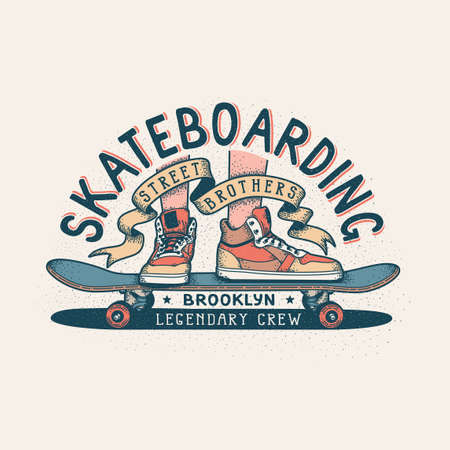 Authentic Skateboarding vintage print design for T-shirt with legs in sneakers standing on skateboard and heraldic ribbon with inscriptions. Иллюстрация