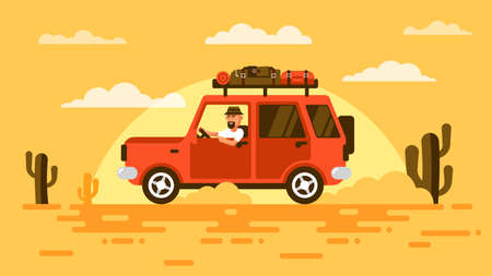 Bearded touris, drives  SUV car in desert, surrounded by cactus, on sunset. On roof carries his luggage. Illustration in flat style.