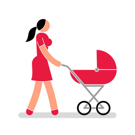 Woman in red dress with baby carriage illustration