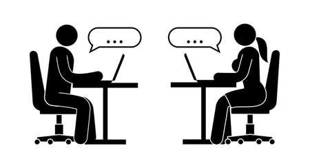 L'uomo e la donna stanno scambiando l'illustrazione dei messaggi