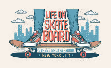 Skateboarding hipster handcrafted illustration with legs in classic sneakers standing on a skateboard.