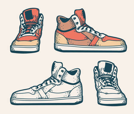Youth sneakers in a hipster style. Side view and front view. Colored and monochrome. Sketch drawing. Çizim
