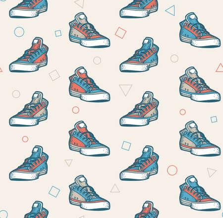 Multi-colored sneakers seamless pattern in retro colors Vettoriali