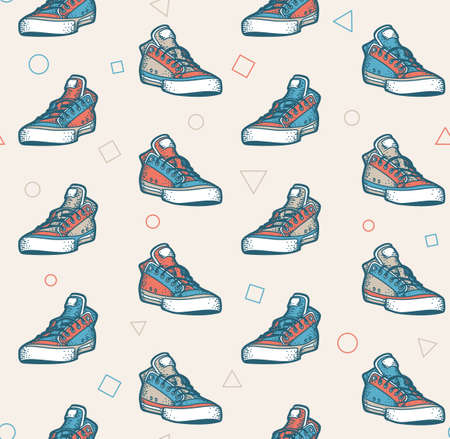 Multi-colored sneakers seamless pattern in retro colors Ilustração