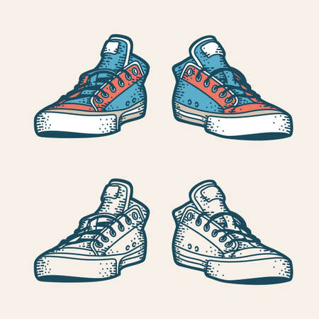 Hipster sneakers in retro style. Color and monochrome versions. Illustration