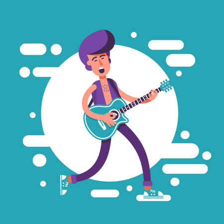 Fashion man with a psychobilly style haircut playing on acoustic guitar and sing. Cartoon illustration in flat style. Illustration