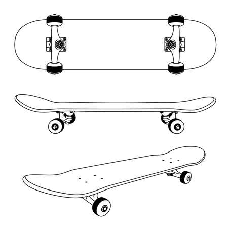 Classic skateboard views icon Illustration