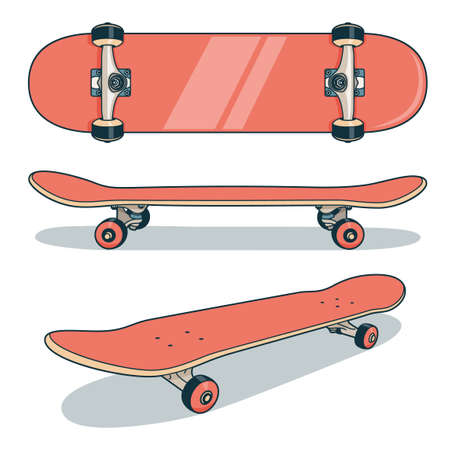 Red skateboard icon from various angles Stock Vector - 99569181