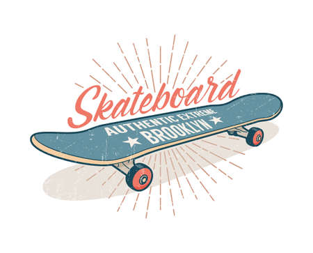 Skateboarding retro emblem design Stock Vector - 99569183