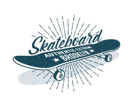 Skateboarding vintage print with classic skateboard and inscriptions