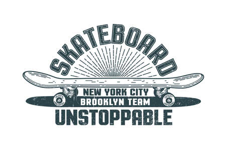 Skateboard logo in the style of hand-drawn hipster print. Grunge texture is on separate layer and is easily turned off. Stock Vector - 99569705