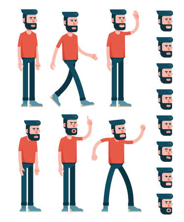 Character male with beard, dressed in red T-shirt. Various poses half turn view. And set of faces with emotions. Flat style. Limbs saved as paths for easy editing. Stock Vector - 100157759