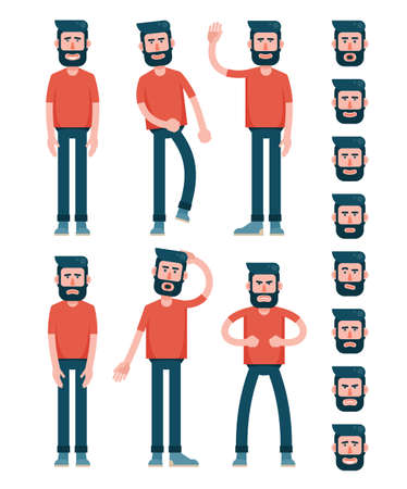 Bearded flat man character in T-shirt is standing, walking, waving his hand, sad, puzzled, angry. And set of faces with different emotions. Stock Vector - 100157757