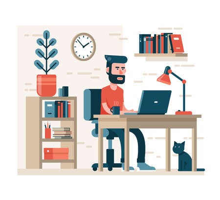 Bearded man with hipster hairdress works on laptop sitting on chair at the table. Around the simple interior - shelves, books, flower in a pot. Modern flat style. Illustration