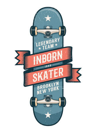 Authentic skateboarding logo in old school style. Classic Skateboard with heraldic ribbon and inscriptions. Worn textures on separate layer. Stock Vector - 100157760