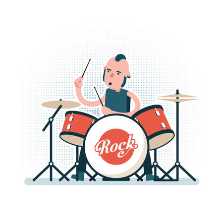 Cartoon rock drummer playing on drum set. Illustration in flat style.