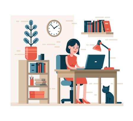 Vrouw die op laptop zittend op een stoel aan het bureau in interieur werkt. Plat karakter.