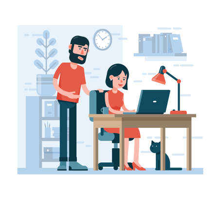 Man and woman work together on laptop in home environment. Cartoon flat style. Vettoriali