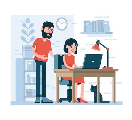 Man en vrouw werken samen op laptop in de thuisomgeving. Cartoon vlakke stijl. Vector Illustratie