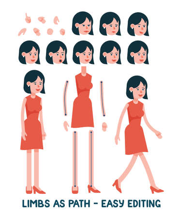 Flat character is a woman in a red dress. Limbs as paths are easy to edit for any posture. Set of facial female emotions.