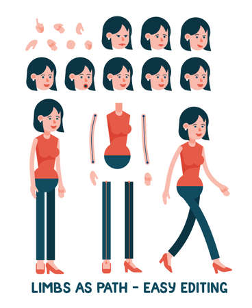 Cartoon character woman in pants. Limbs as paths are easy to edit for any posture. Set of facial female emotions.