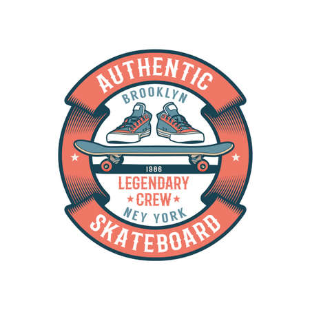 Retro emblem with skateboard, sneakers and ribbon. Illustration