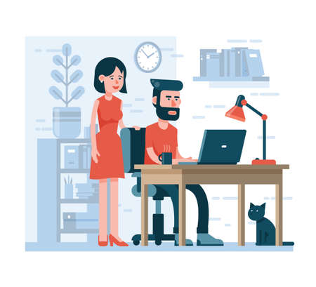 Man is working on laptop sitting on a chair at a table, woman is standing beside to looking at it. Flat style. Stock Vector - 100850004