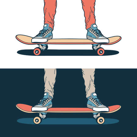 Legs in classic blue sneakers stand on a skateboard - on a light and dark background. Stock Illustratie