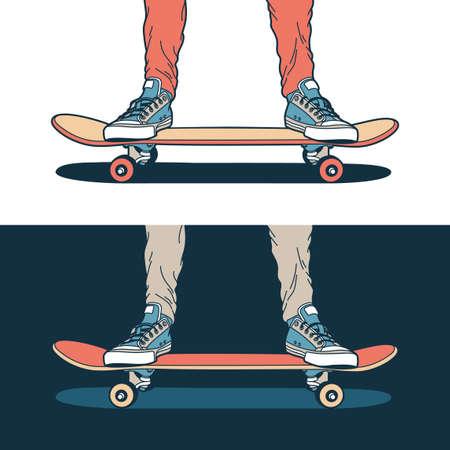 Las piernas en zapatillas de deporte azules clásicas se colocan en una patineta, sobre un fondo claro y oscuro.