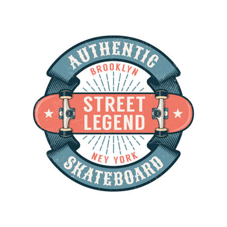 Hipster skateboarding logo with round ribbon and inverted skateboard. Worn textures on a separate layer.