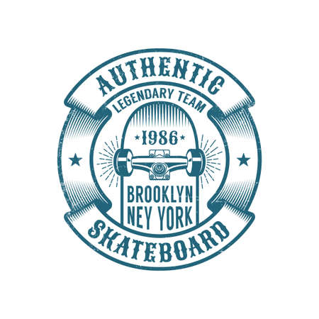 Skateboarding logo in retro style. Skateboard in heraldic ribbon with inscriptions. Worn textures on a separate layer. Illustration