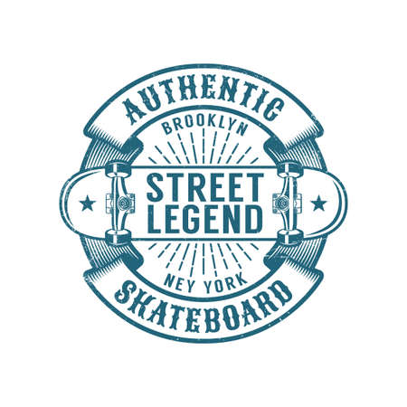 Skateboard Brooklyn retro emblem. Worn textures on a separate layer.