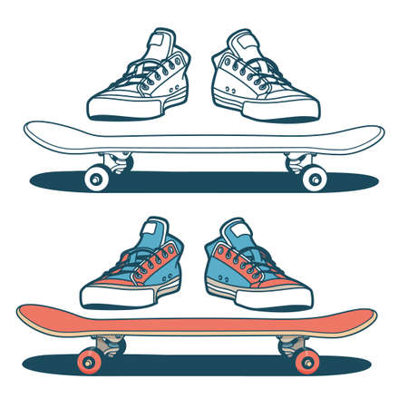 Sneakers and skateboard isolated - color and outline options Stock Illustratie