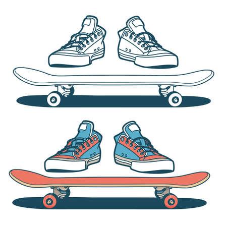 Turnschuhe und Skateboard isoliert - Farb- und Umrissoptionen