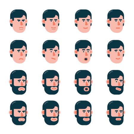 The head of a man with various emotions in slightly turned. Variants with a beard and without. Flat style. Stock Vector - 101913165