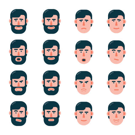 Set of emotions of the man face in flat style. Variants with a beard and without.