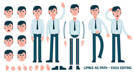 Set for designing an office worker character. The limbs are saved as path for easy editing and adjusting the posture. Set of facial emotions. Examples of poses  -  greeting, walking, puzzling. Illustration