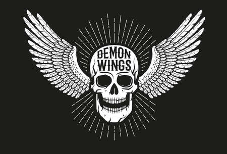 Vintage biker emblem - winged skull on a black background. Old school style. Illustration