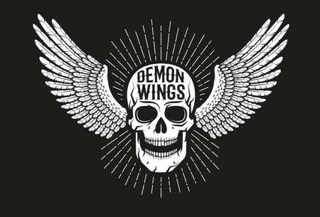 Vintage biker emblem - winged skull on a black background. Old school style. Stock Vector - 102368888