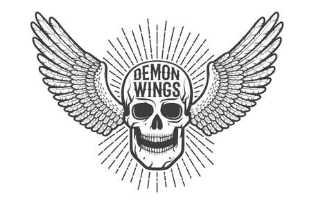 Retro authentic emblem, tattoo is a skull with wings. Çizim