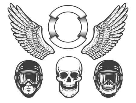 Set of design elements for creating a racing emblem - wings, a rider's head in a helmet, skull. Stock Vector - 102368890