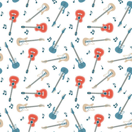 Seamless pattern of acoustic and electric guitars