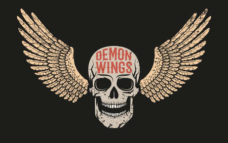 Skull with wings - color on a black background. A worn texture on a separate layer. Illustration